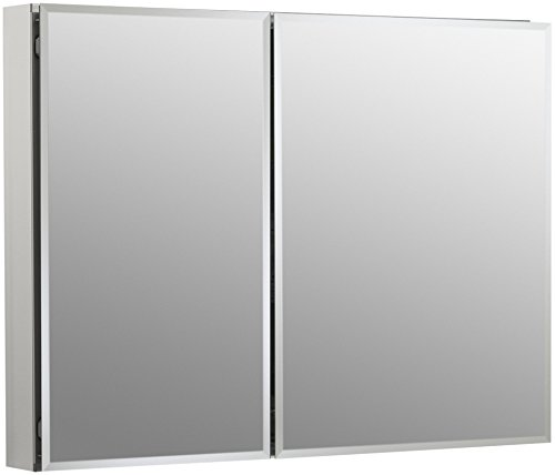 KOHLER K-CB-CLC3526FS Frameless Double Door 35 inch x 26 inch Aluminum Bathroom Medicine Cabinet; Recess or Surface Mount