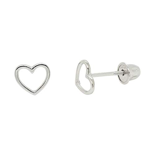 14k Solid Gold Wire Style Open Heart Studs Screw Back Earrings -WG