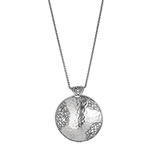 PZ Paz Creations 925 Sterling Silver Hammered Filigree Medallion Necklace