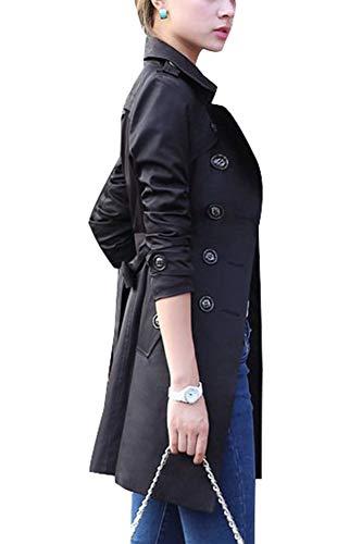 Coat Casual Blouson Manches Femme Longues Veste GladiolusA Trench Manteau Noir TRwOOU