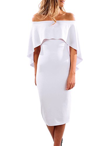 Alvaq Women Summer Sexy Off Shoulder Bodycon Club Midi Ruffle Dresses Party Cocktail Dress Small White,White,Small