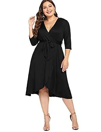 90ba3f365bd ESPRLIA Women s Empire Waist Plus Size Midi Casual Cocktail Dresses ...