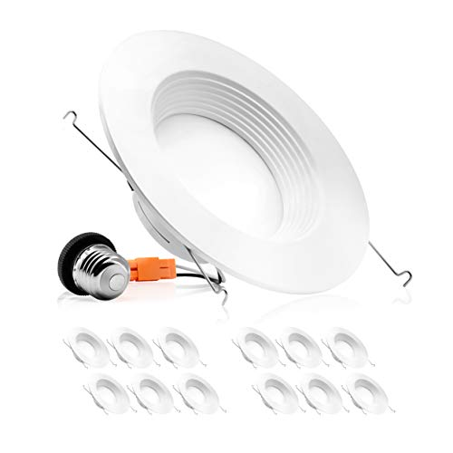 Parmida (12 Pack) 5/6 inch Dimmable LED Downlight, 12W (100W Replacement), Baffle Design, Retrofit Recessed Lighting, Can Light, LED Trim, 4000K (Cool White), 1000lm, Energy Star & ETL - Led Recessed Retrofit Trim