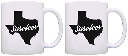 Texas Gifts Survivor Texas Houston Dallas San Antonio Texas 2 Pack Gift Coffee Mugs Tea Cups White