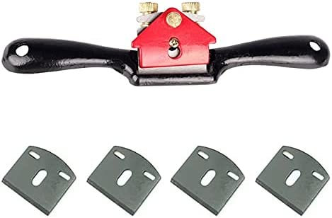 CHUNSHENN Sharp Adjustable SpokeShave with Flat Base and Metal Blade Wood Working Wood Craft Hand Tool with 4 PCS Planer Blade (Color : Red)