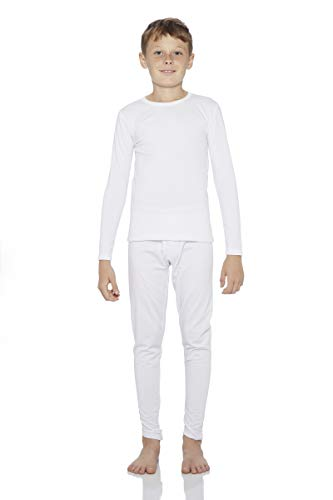 Rocky Boy's Fleece Lined Thermal Underwear 2PC Set Long John Top and Bottom (L, White)