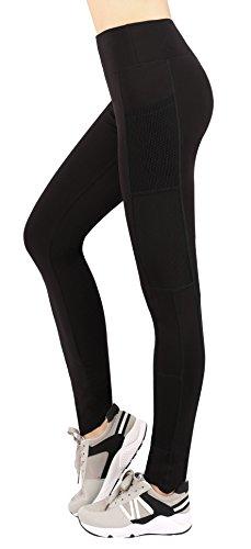 Sugar Pocket Women's Full Length Leggings Running Yoga Pants Mesh Side Pockets M(Black)