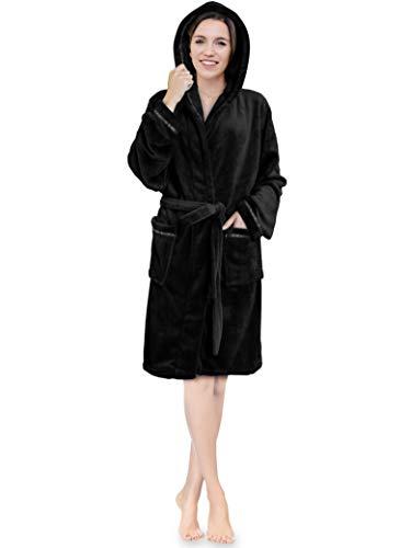 Premium Women Fleece Hooded Robe with Satin Trim | Luxurious Plush Short Spa Bathrobe Knee Length Black ()