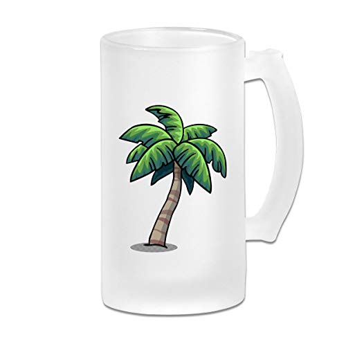 Palm Tree Frosted Glass Tumbler Beer Cup 16 Oz Water Glass Drinkware