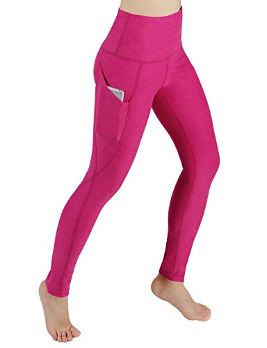 ODODOS High Waist Out Pocket Yoga Pants Tummy Control Workout Running 4 Way Stretch Yoga Leggings,Fuchsia,Medium -