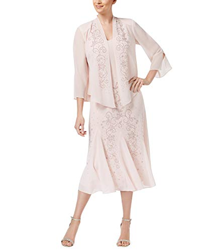 R&M Richards Women's Beaded Jacket Dress – Mother of The Bride Dresses (Mauve, 18)