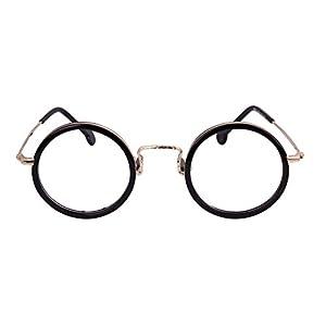 Agstum Handmade Retro Round Prescription Optical Eyeglasses Frame Rx 43mm (Black)