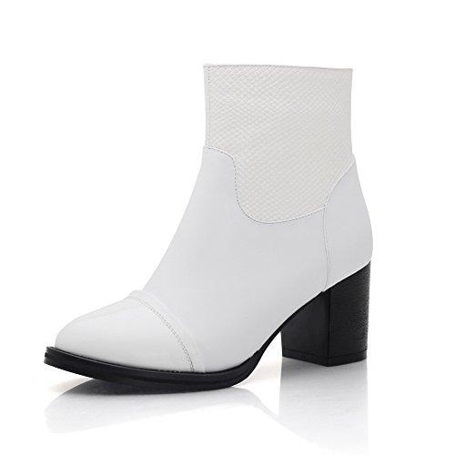 Allhqfashion Womens Wees Dichte Teen Blend Materialen Low-top Solide Laarzen Wit