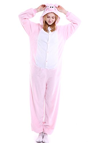 AooToo Womens Costumes Onesie Halloween Unisex Role Play Flannel Animal Pajamas(FZHU, (Cute Female Clown Costumes)