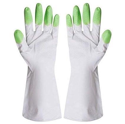 Allmart Enterprise Rubber Latex Non-Slip Kitchen Laundry Gardening Dishwashing Scrubbing Cleaning Gloves, Adult Size (Assorted) - Set of 2