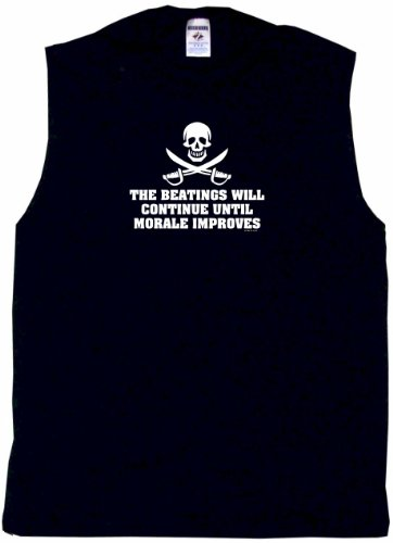 The Beatings Will Continue Until Morale Improves Jolly Roger Logo Men's Tee Shirt 2XL-Black Sleeveless