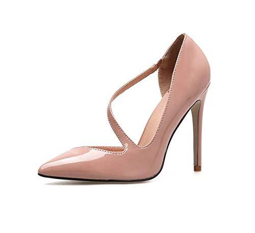 Pies Ol D'orsay Ue Punta Tacón Sandalias Corte 11cm Fiesta Bomba 40 Sexy Los Mujeres Tamaño Brillante Zapatos Vestido 34 Pink De Alto PZzcWq