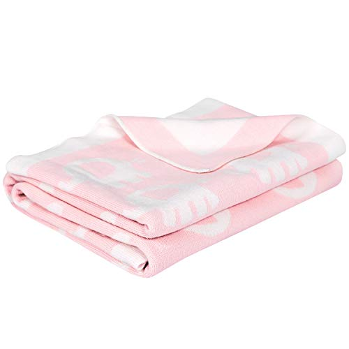 Infants Knit Blanket - Premium Cotton Knitted Baby Blanket Breathable Summer Swaddle Blanket for Newborn Ultra Soft Toddler Bed Crib Quilt for Boys Girls Hypoallergenic Lightweight Receiving Blanket, Pink Elephants, 30x40