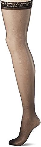 Leg Avenue Women's Plus Size Sheer Thigh High Stockings Lace Garter Belt, Black, Plus Size