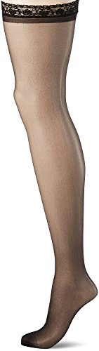 Leg Avenue Womens Plus Size Sheer Lace Stockings with Attached Garter Belt