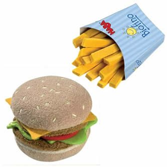 HABA Biofino Hamburger and French Fries - Machine Washable Plush Pretend Play Food