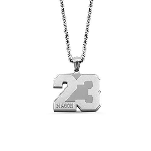 Personalized Sports Number Necklace With Name - Baseball Football Basketball Number With Name Pendant - Lucky Number Sports Charm Gift
