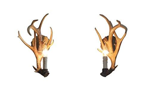 EFFORTINC Resin Deer Horn Wall Sconce,1Lights(Bulbs Not Included) Set of 2