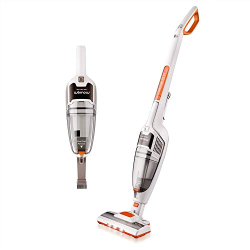 WOMOW W18 2 in 1 Cordless Handheld Stick Vacuum Cleaner, 25.2V 2200mAh Li-ion Rechargeable Battery, with LED Brush Lights, Upright Charging Base, White