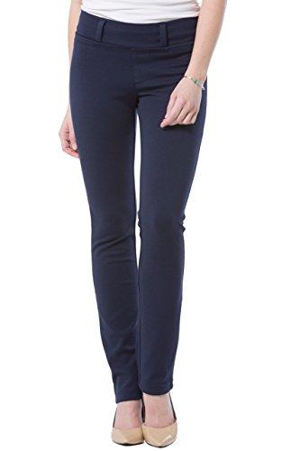 Fishers Finery Women's Ponte Straight Leg Dress Pant; Pull On (Navy, L Petite)