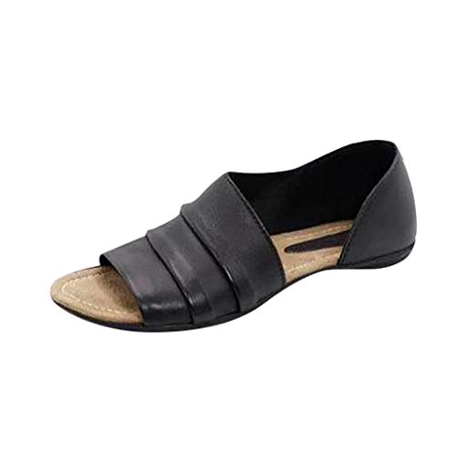 Kawaiine Summer Womens Shallow Mouth Peep Toe Roman Sandals Beach Casual Shoes Black