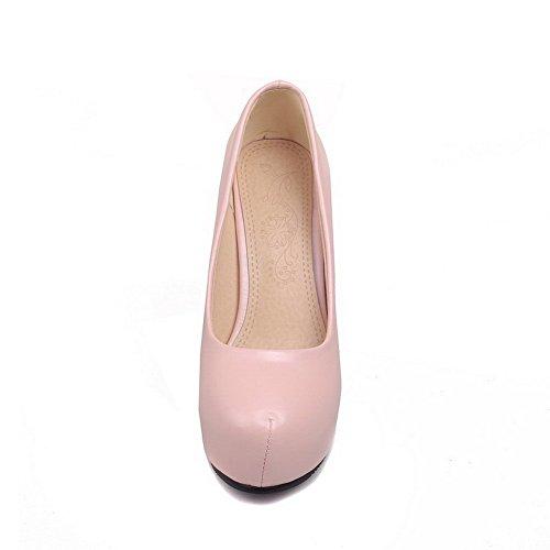 AllhqFashion Mujer PU Tacón Alto Material Suave Slip-on Puntera Redonda ZapatosdeTacón Rosa