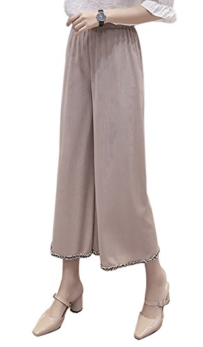 QZUnique Women's Ice Silk Vertical Wide Leg Pants Straight High Elastic Waisted Lounge Loose Trousers with Raw Edge Khaki US (Silk Wide Leg Trousers)