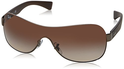 - Ray-Ban RB3471 Shield Sunglasses, Matte Gunmetal/Brown Gradient, 32 mm