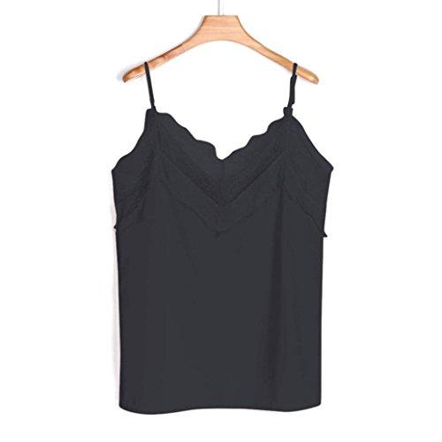Femmes Sexyville V Noir Manche Cami Gilet sans Casual Col Et T Mode Camisole Rservoir Tops Shirt SxawaH4E