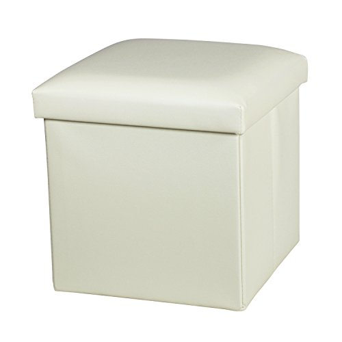 Cream Ottoman - NISUNS OT01 Leather Folding Storage Ottoman Cube Footrest Seat, 12 X 12 X 12 Inches (Cream White)