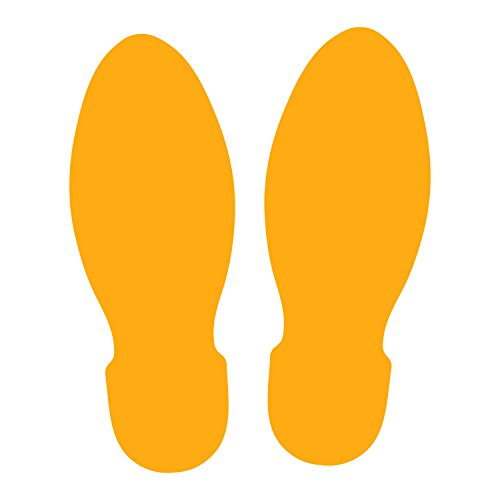 LiteMark 9 inch Golden Yellow Unifoot Footprint Decal Stickers for Floors and Walls - Pack of 12 by LiteMark
