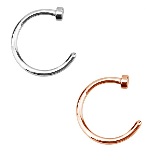 Forbidden Body Jewelry 18g 8mm Silver & Rose Gold Tone Surgical Steel Perfect Basics Comfort Fit Nose Hoops (2pcs) (18 Gauge Nose Hoop Ring)