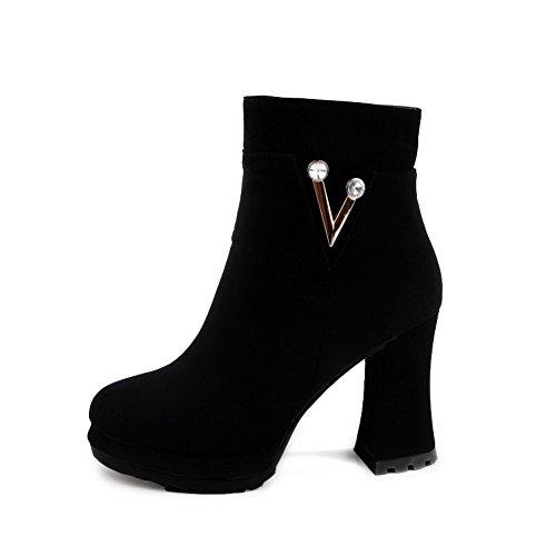 AllhqFashion Mujeres Cremallera Puntera Redonda Tacón ancho Sólido Botas con Diamante Negro
