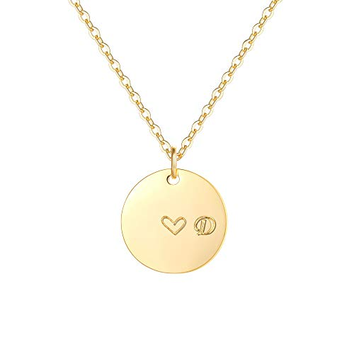 Gold Initial D Pendant Necklaces,14K Gold Filled Engraved Disc Personalized Name Dainty Handmade Cute Heart Initial D Tiny Pendant Necklaces Jewelry Gift for Women (Letter D Charm 14k)