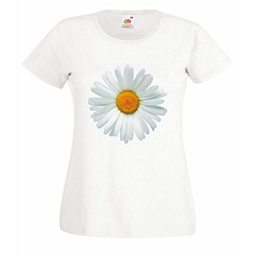 Daisy Image White Ladies Fitted - Daisy T-shirt Flower