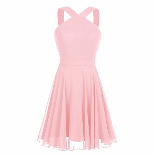 iiniim Womens Chiffon Criss-Cross Straps Evening Party Prom Gown Bridesmaid Short Dress Pearl Pink US Size 6