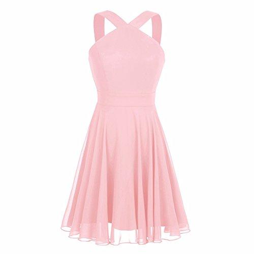 iiniim Womens Chiffon Criss-Cross Straps Evening Party Prom Gown Bridesmaid Short Dress Pearl Pink US Size ()
