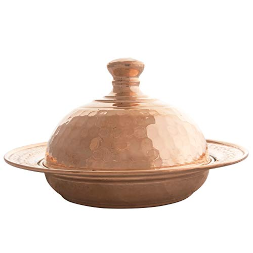 - Mandalina Magic Handmade Copper Serving Dish with Lid - Decorative Hand-Hammered Candy Bowl for Serving Sweets, Cookies, Chocolate, Turkish Delight