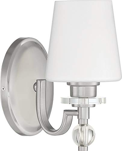 - Quoizel HS8601BN Hollister Opal Etched Glass Wall Sconce Lighting, 1-Light, 100 Watt, Brushed Nickel (10