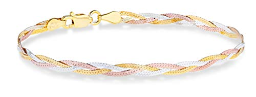 MiaBella Tri-Color 18K Gold Over 925 Sterling Silver Italian 3-Strand Diamond-Cut 4mm Braided Herringbone Chain Bracelet for Women Teen Girls 6.5, 7, 7.5, 8 Inch 925 Italy (7)