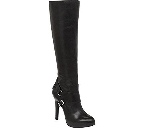 Jessica Simpson Kvinna Avern Läder Stängd Tå Knä Höga Mode Stövlar Svart Läder