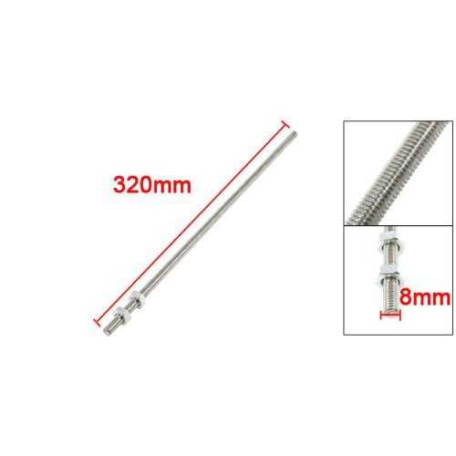 Uxcell a13052700ux0322 Silver Tone Stainless Steel Threaded Bar Stock Rod 320mm x M8 Dragonmarts BISS