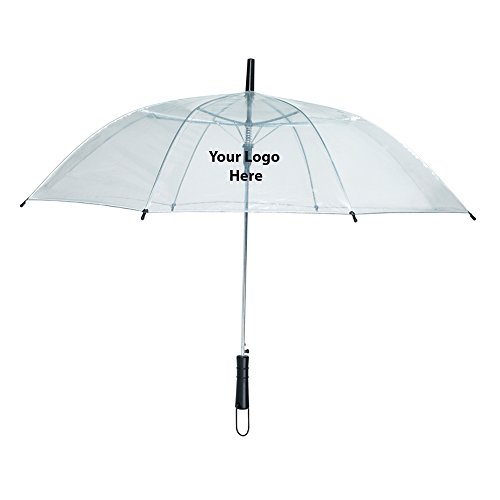 46'' Arc Clear Umbrella - 25 Quantity - $7.45 Each - PROMOTIONAL PRODUCT / BULK / BRANDED with YOUR LOGO / CUSTOMIZED by Sunrise Identity