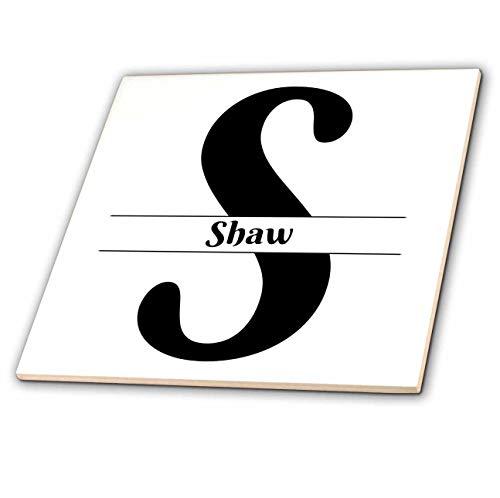 (3dRose BrooklynMeme Monograms - Bold Script Monogram S - Shaw - 8 Inch Glass Tile (ct_306604_7))