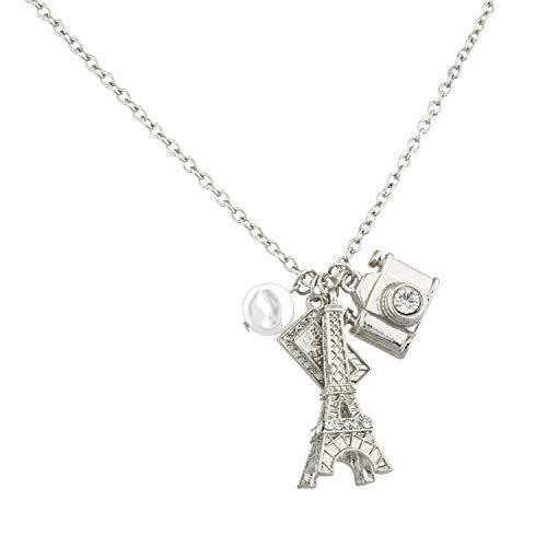 Lux Accessories Eiffel Tower Paris Pave Camera Tourist Imitation Pearl Charm Necklace.